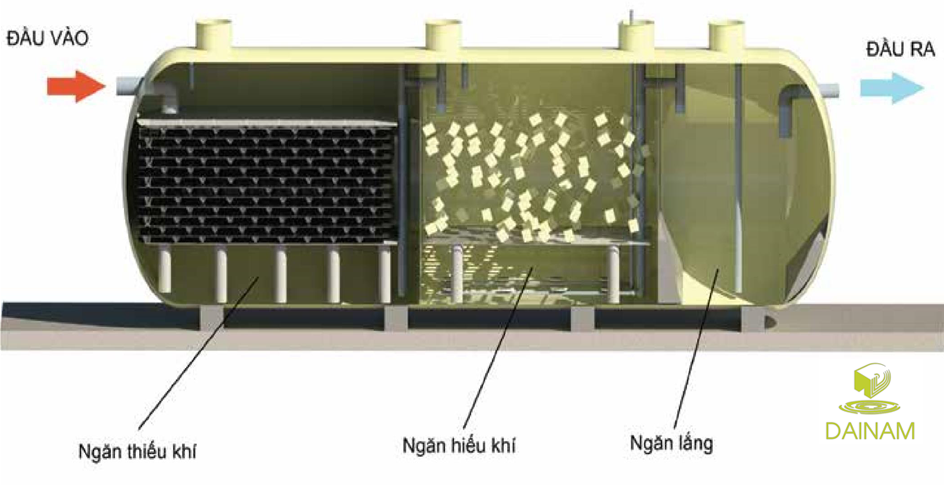 Mặt cắt dây chuyền công nghệ xử lý nước thải sinh hoạt tại nguồn không bể tự hoại